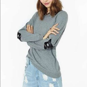 Nasty Gal cat elbow patch sweater